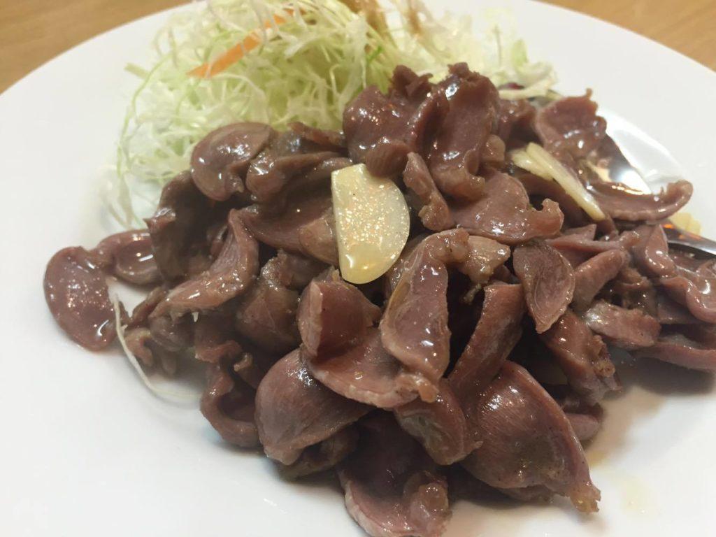 ニンニクと砂肝炒め