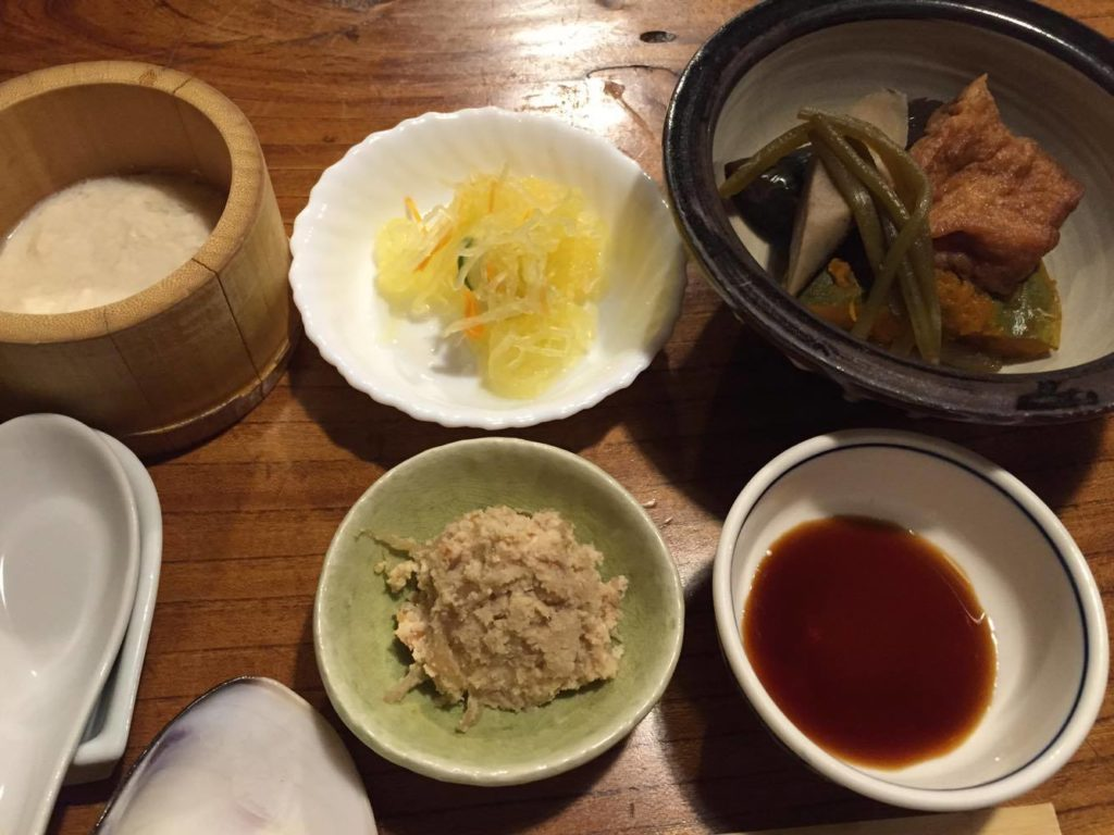 自家製豆腐、素麺瓜の酢の物、煮しめ、卯の花