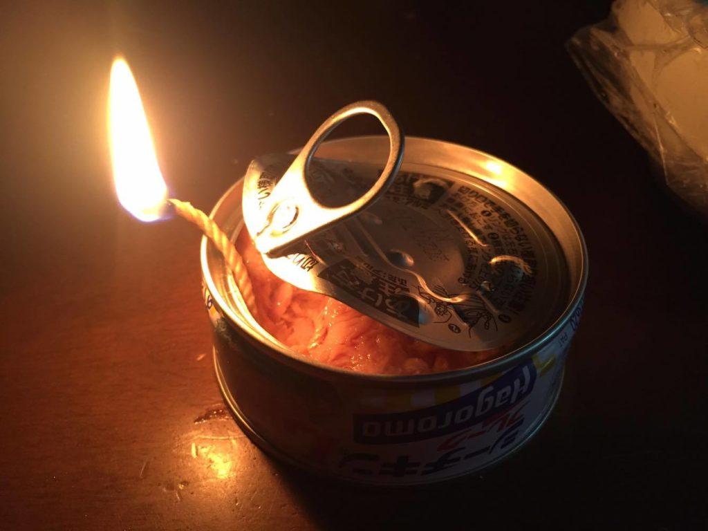 ツナ缶ランプ 着火