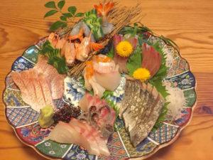 刺身(鯛、のどぐろ、エビ、はまち、カツオ、平目)